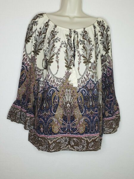 Entro Anthropologie Womens Medium Blouse Floral Long Peplum Sleeves