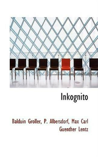 Inkognito by P. Albersdorf Groller 2009 Paperback