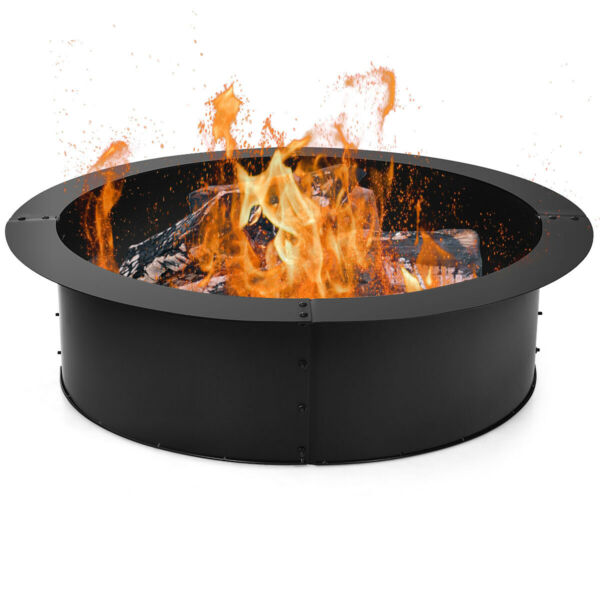 36 Inch Round Fire Pit Ring Liner DIY Wood Burning Insert Steel Durable