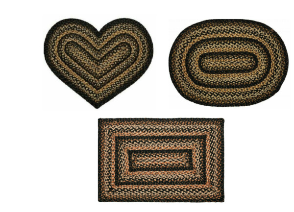 Black Forest Rectangle Oval Heart Braided Area Rug 20