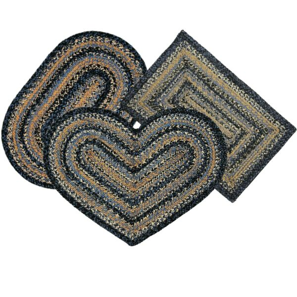 River Shale Jute Material Braided Area Rug Oval Rectangle Heart 20