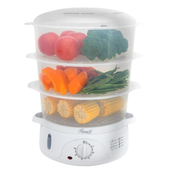 3 Tier Vegetable Food Steamer and Rice Cooker 9.5Qt BPA Free with Turbo Steaming