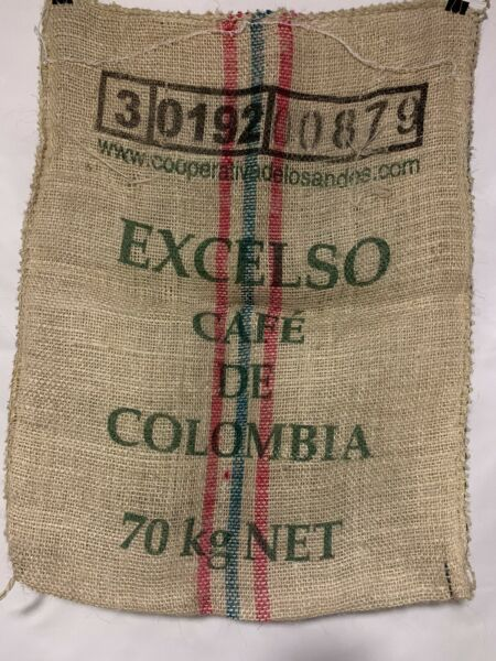 Excelso Cafe De Colombia Burlap Coffee Sack Used