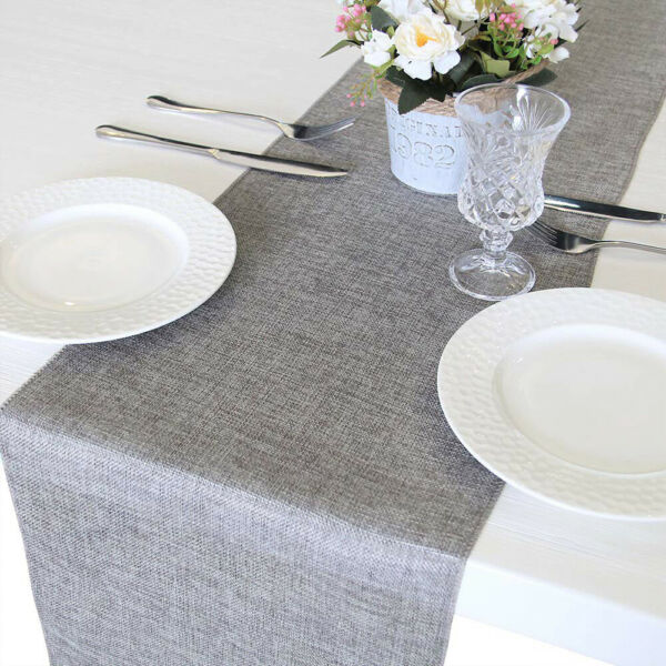 71in Burlap Table Runner Imitated Linen Wrinkle Free Wedding Party Rustic Event
