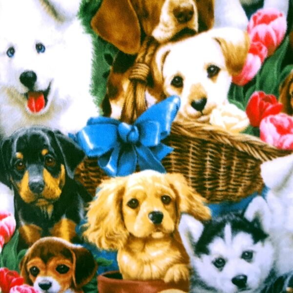 CUTE DOGS PRINT PUPPYS ALL OVER Fleece Fabric 60quot; By The Yard DOG LOVERS FABRIC $8.99