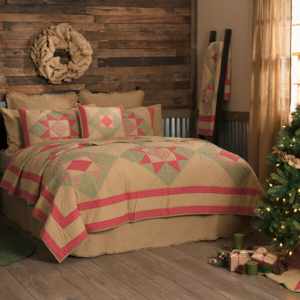 Queen King Twin Cotton Quilt Bedspread Tan Rustic Holiday Lodge Cabin Home Decor