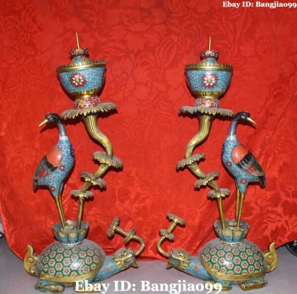 75CM Cloisonne Enamel Gilt Dragon Tortoise Birds Candle Holder Candlestick Pair