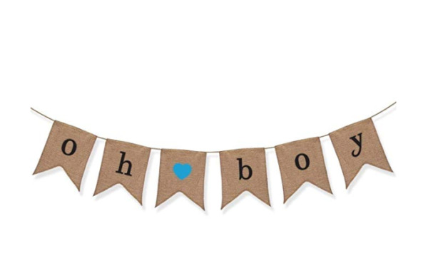 Oh Boy Burlap Banner Baby Shower Decorations For Gender Reveal Party PARTY