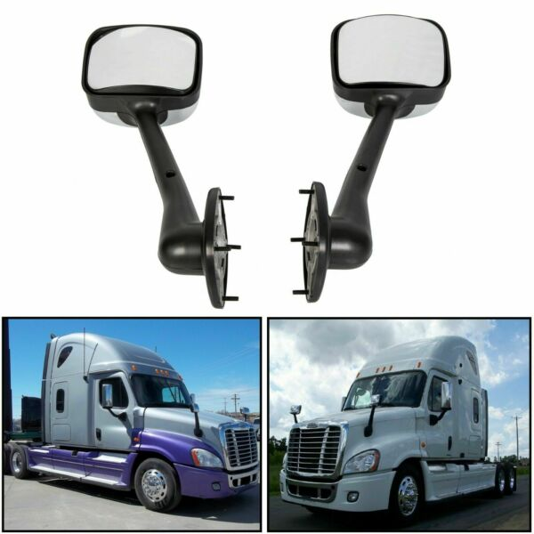 LH+RH Side Hood Chrome Mirrors Manual Pair Fits Freightliner Cascadia 2008-2016