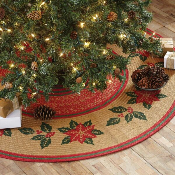 VHC Rustic Tree Skirt Poinsettia Holiday Decor Tan Textured Jute Stenciled