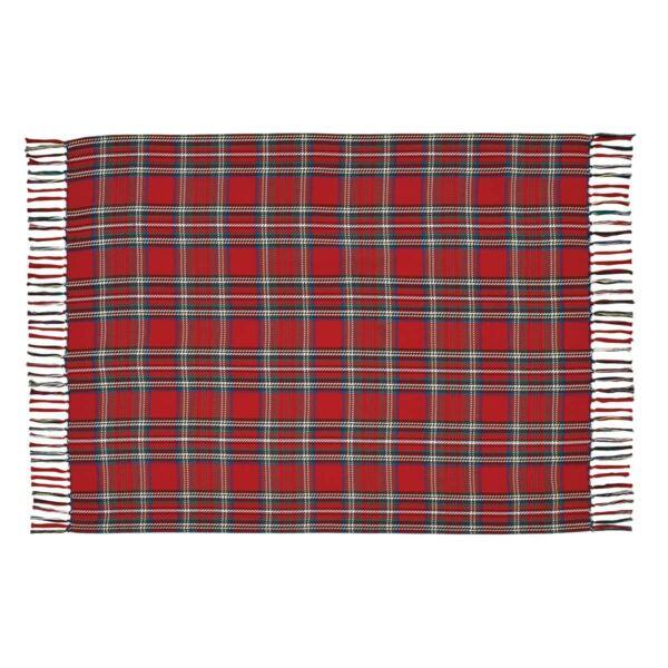 VHC Rustic Throw Gavin Holiday Decor Red Textured Cotton Plaid Christmas
