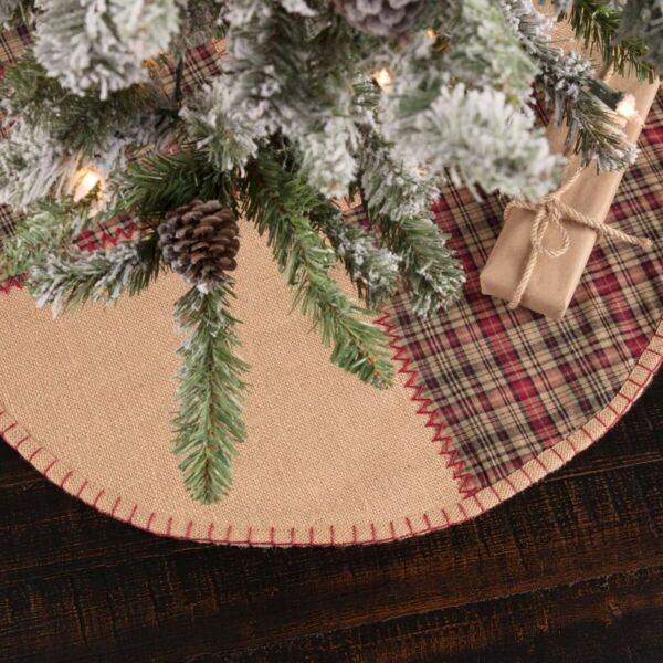 VHC Rustic Tree Skirt Clement Holiday Decor Tan Textured Cotton Plaid Round