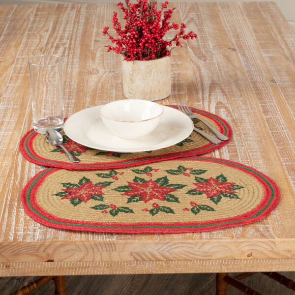 VHC Rustic Placemat Set of 6 Poinsettia Holiday Decor Tan Textured Jute