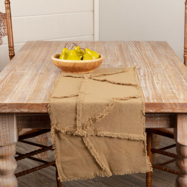 Burlap Natural Country Patchwork Table Runner Decorative Tablecloth Tan Cotton