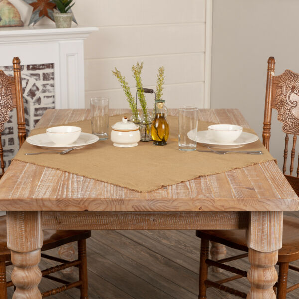 Burlap Natural Farmhouse Table Topper Cloth Coffee End Kitchen Dining Table Tan