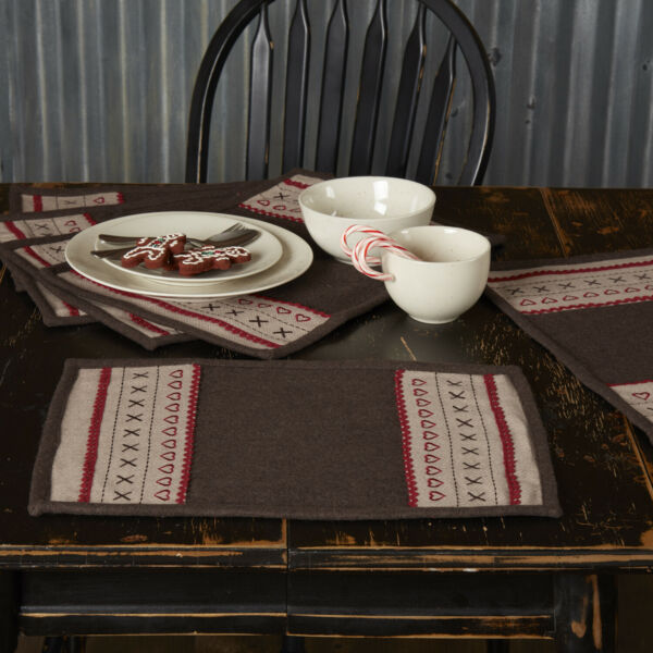VHC Rustic Placemat Set of 6 Merry Little Christmas Holiday Decor Brown