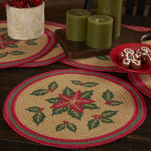 VHC Rustic Tablemat Set of 6 Poinsettia Holiday Decor Tan Textured Jute