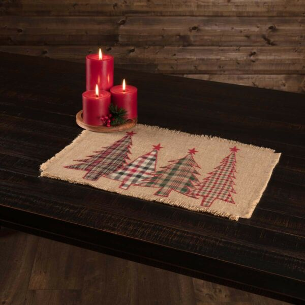 VHC Rustic Placemat Set of 6 Clement Christmas Tree Holiday Decor Tan Jute
