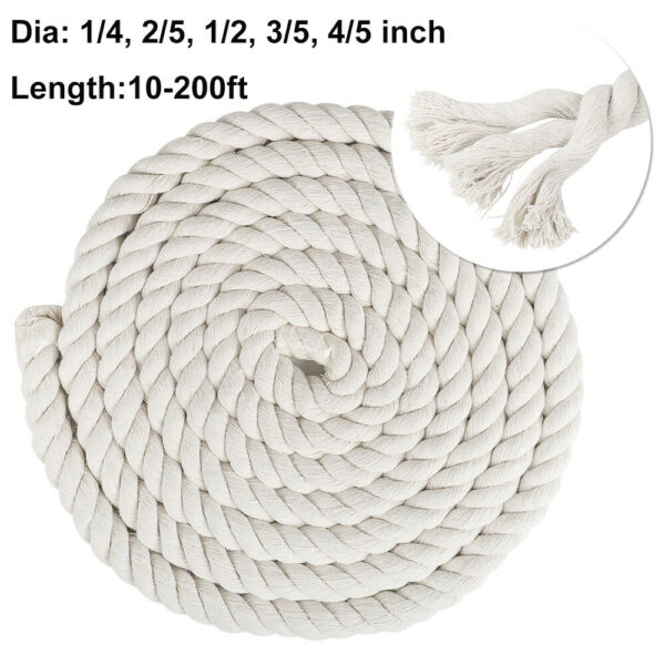 Natural 100% Twisted Cotton Rope Cord Soft Strong Triple Strand Craft Art Decor