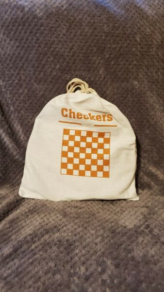 Wood Pumpkin Shaped Checkers Set wCarrying Bag- NEW
