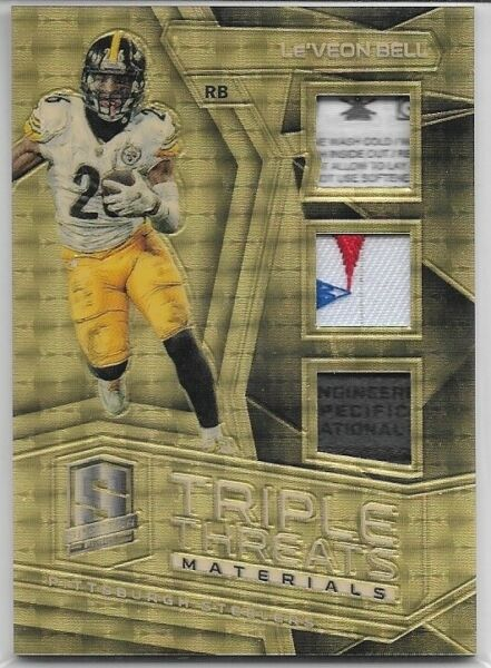 2017 Spectra LE#x27;VEON BELL Triple Threads Logo Laundry Tag Superfractor 1 1 Relic $120.00