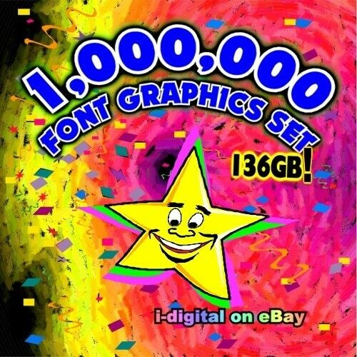 Selling All Rights! 1000000 Font Graphics Set1 Million Files136GB on Blu-ray