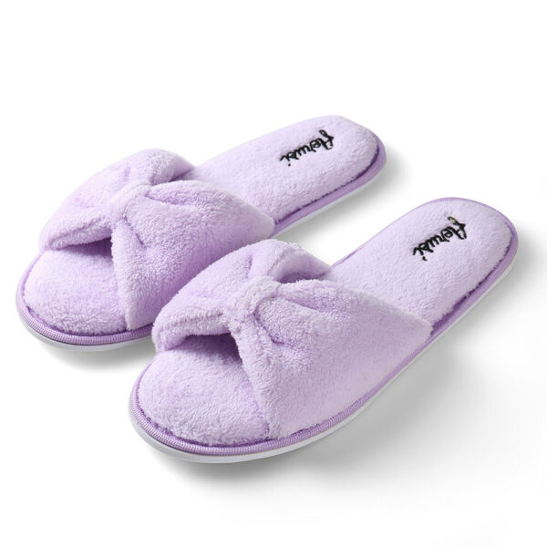 Purple Winter Warm Indoor House Shoes Plush Fluffy Cozy Open Toe Slippers 6-9 $11.99