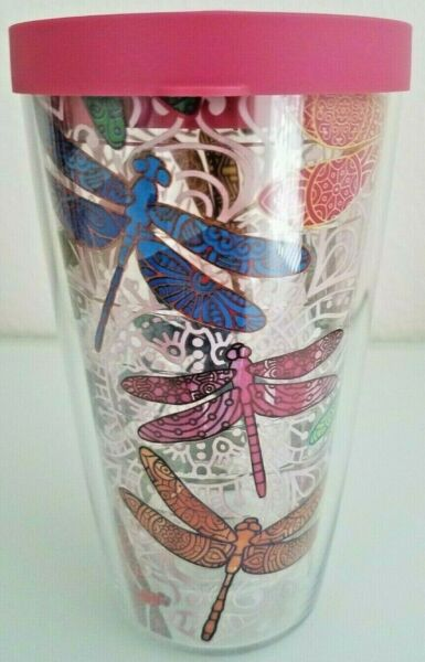 NEW Tervis Tumbler 16 oz Dragonfly Mandala Design w/Travel Lid Hot or Cold