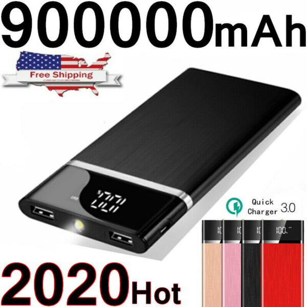 Ultra-thin Portable 900000mAh Power Bank External Battery Charger Fast Charging