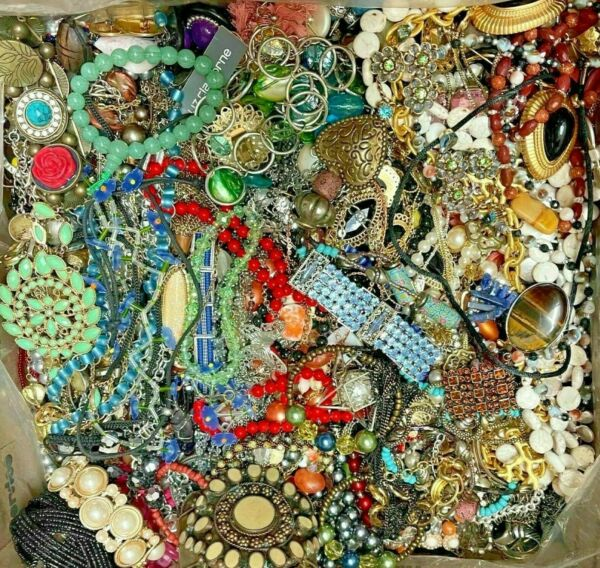 Huge Lot Vintage Now Jewelry Junk Art Craft FULL Box POUNDS Beads Charms Chains+