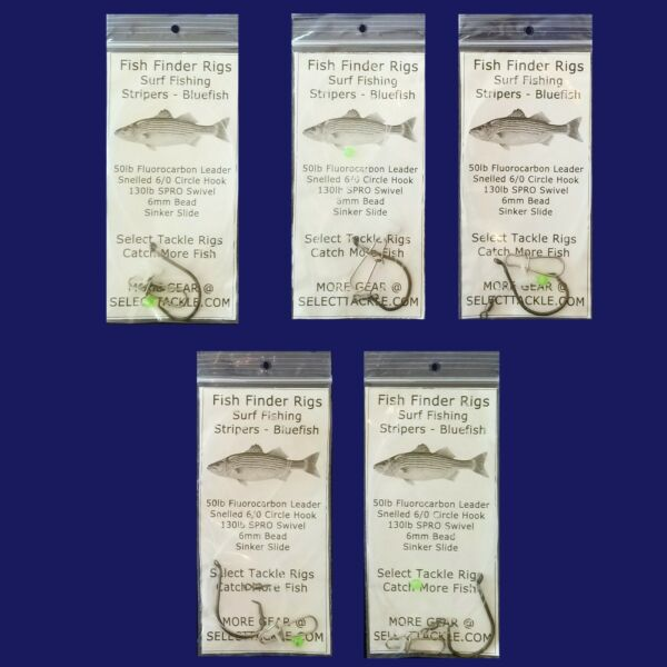 5 Fish Finder Fishing Rigs. 100% Hand Tied. Top Quality. Stripers Bluefish Surf $13.50