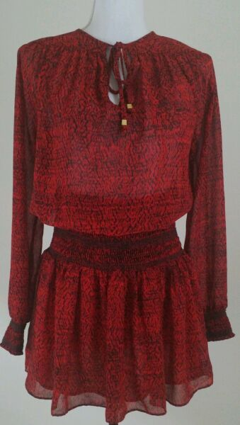 MICHAEL Michael Kors Size S Red Black Long Sleeve Blouse Long Top.