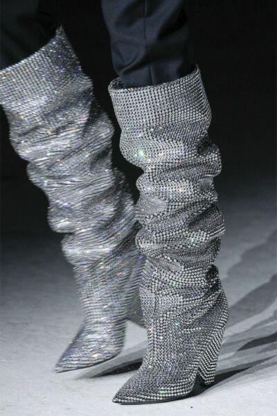 NW Authentic Runway SAINT LAURENT NIKI 105 Crystal Swarovski Slouch Boots 39.5 9