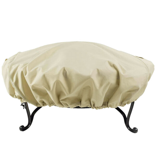 600D Full Coverage Round Fire Pit Bistro Table Cover Round 60quot; Diameter Beige