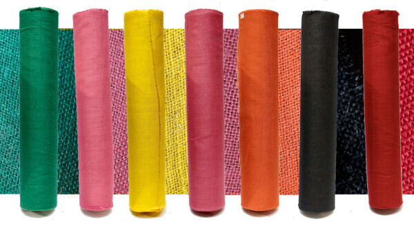 COLOURED NATURAL JUTE HESSIAN ROLL STRONG CRAFT FABRIC - 100CM x 50M TRADE ROLLS