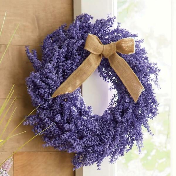 Springtime Purple Lavender Wreath with Burlap Bow Accent 24