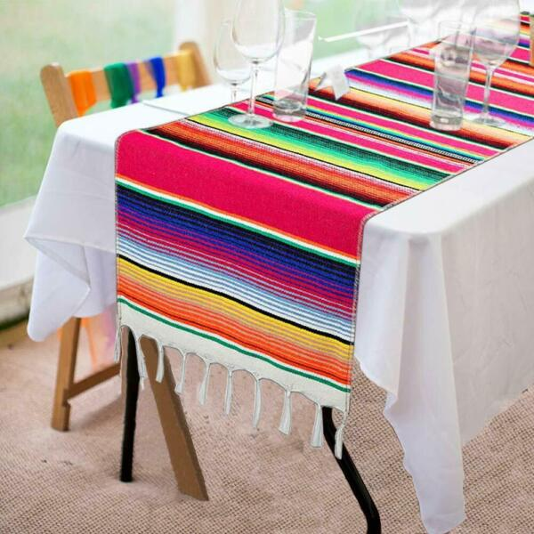 1 5 10x Mexican Table Runners 14x108in Fringe Cotton Serape Blanket Fiesta Party