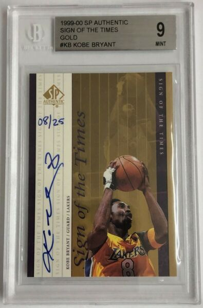 KOBE BRYANT 99-00 SP Sign of the Times Gold Auto # 8  25 BGS 9 All Time Auto