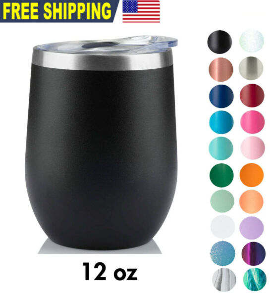 12 OZ Wine Stainless Steel Tumbler Vacuum Double Wall Insulation Travel MugCup