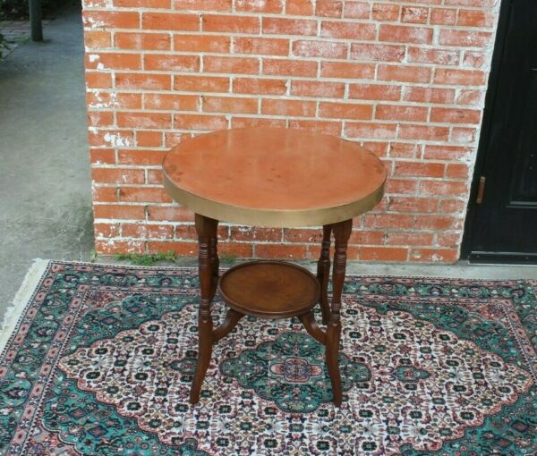 English Antique Edwardian Mahogany Brass Top Occasional Table  Side Table