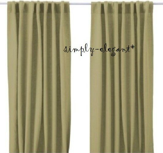 IKEA AINA Linen Pair of Curtains Window Linen Panels 57x98 quot; ea Light Green NOOP