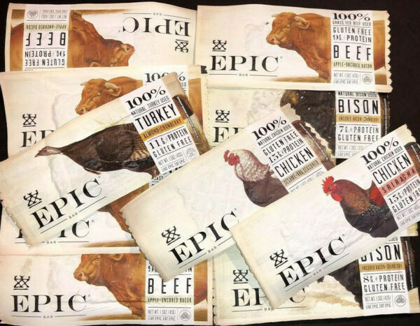 32 Assorted Flavor  - EPIC All Natural Meat 7-13g Protein Bar Grass Fed