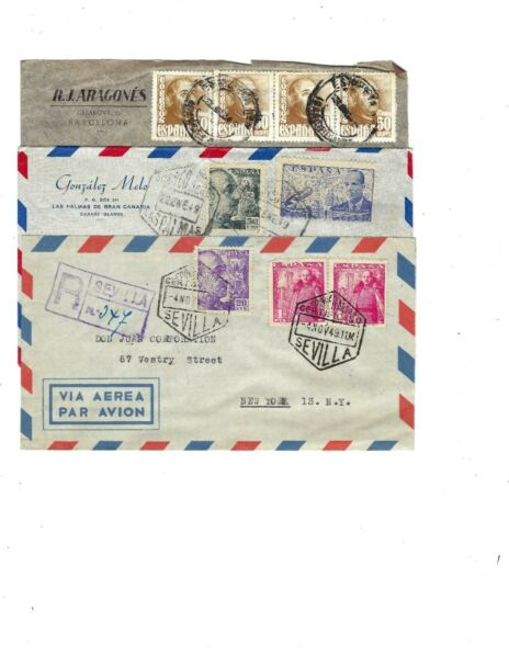1948 SPAIN COVER TO NEW YORK WITH (4) GENERAL FRANCO STAMPS