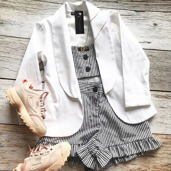 Toddler Kids Baby Girl Cold Shoulder Striped Tops Short Pants Outfits Clothes US