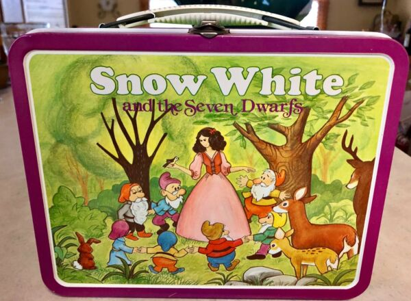 SNOW WHITE & The 7 DWARFS * Metal LUNCHBOX * 1980 - NO Thermos * VERY CLEAN!!
