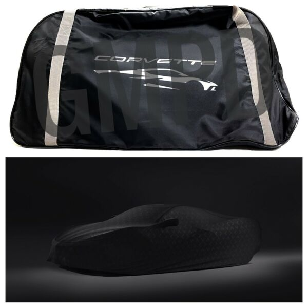 2020 Corvette C8 Premium Indoor Black Car Cover with Embossed Crossed Flags GM