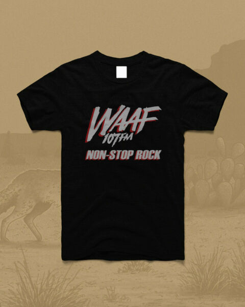 new vtg WAAF 107 Radio Station vintage 1985 Non-Stop Rock T Shirt GILDAN Reprint