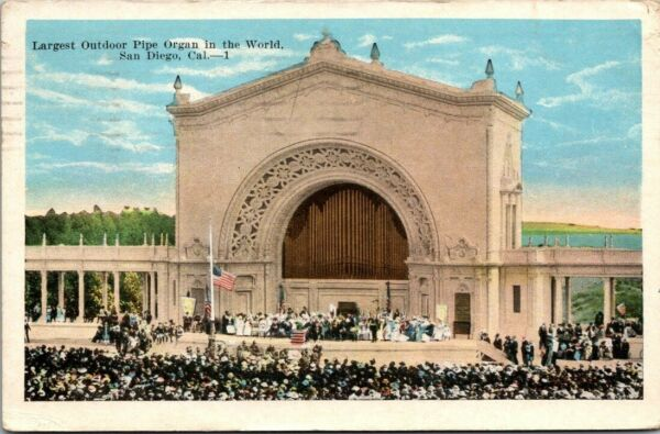 Postcard Largest Outdoor Pipe Organ in the World San Diego Calif $14.50