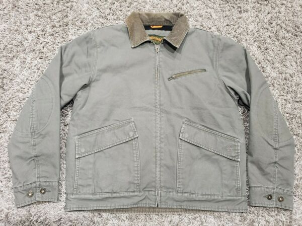 Men's Timberland Lined Gray Canvas Corduroy Collar Work Jacket Coat Size Large $59.71