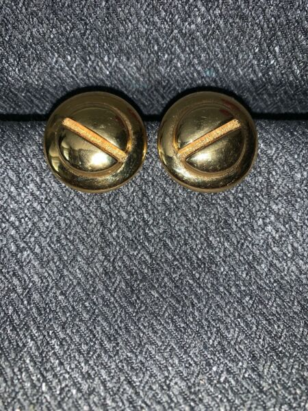 ST JOHN ACCESSORIES GOLD PLATED SCREW HEAD CLIP BUTTON EARRINGS RARE